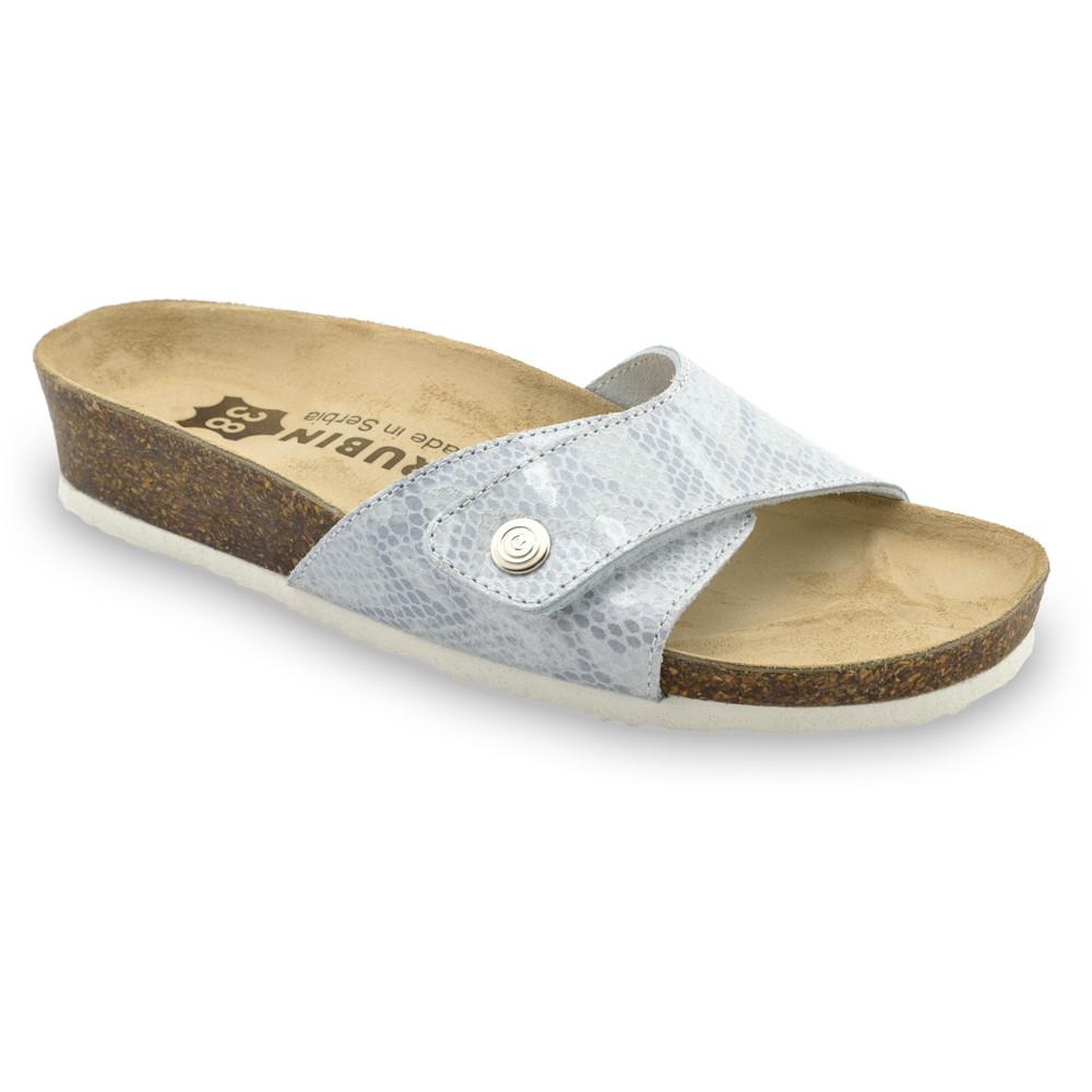 MADRID Kožené dámske papuče (36-42) - sivá, 42