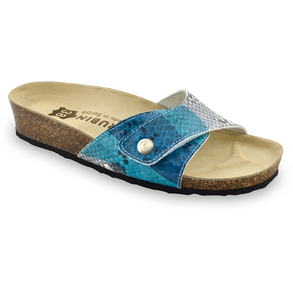 MADRID Kožené dámske papuče (36-42) - farebná zmija, 37