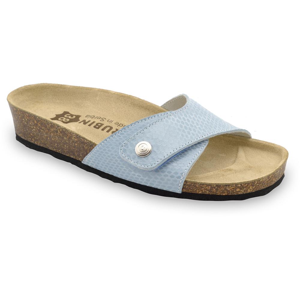 MADRID Kožené dámske papuče (36-42) - modrá zmija, 38