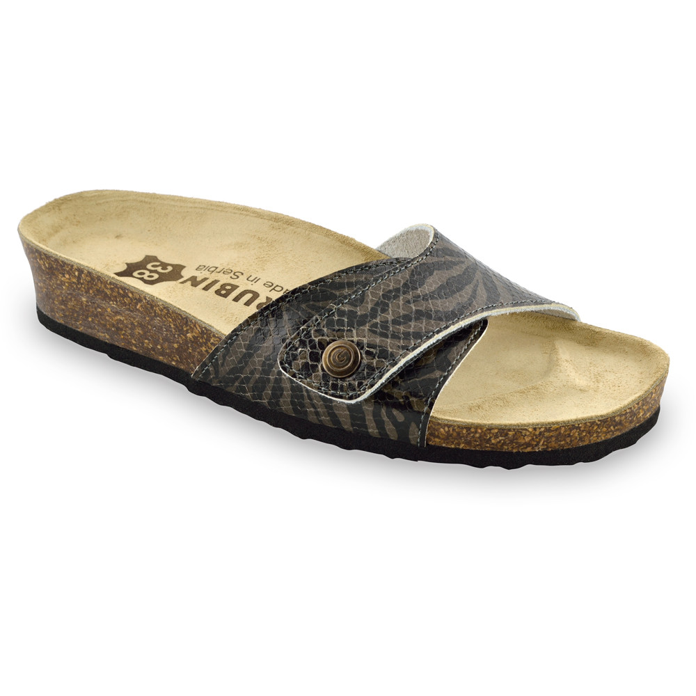 MADRID Kožené dámske papuče (36-42) - čierna zmija, 36