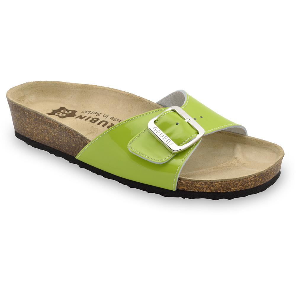 MADRID Kožené dámske papuče (36-42) - zelená, 36