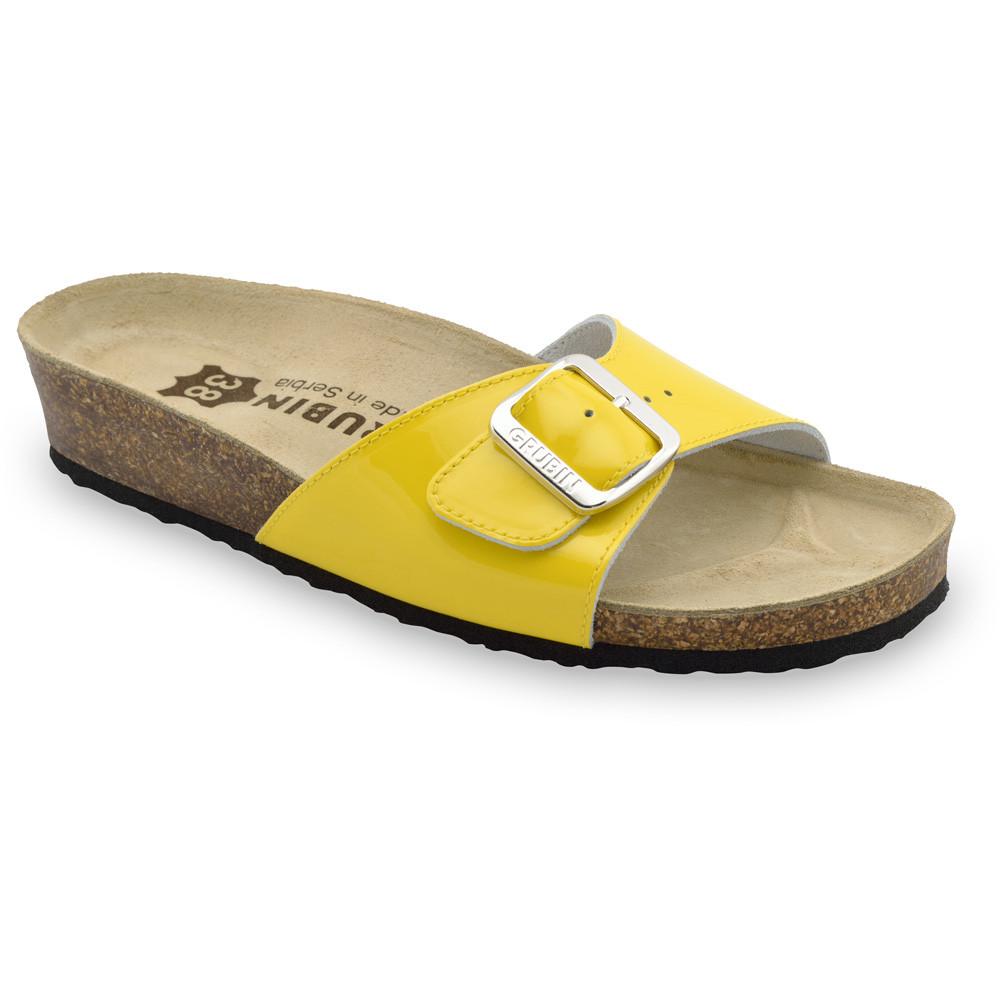 MADRID Kožené dámske papuče (36-42) - žltá, 40