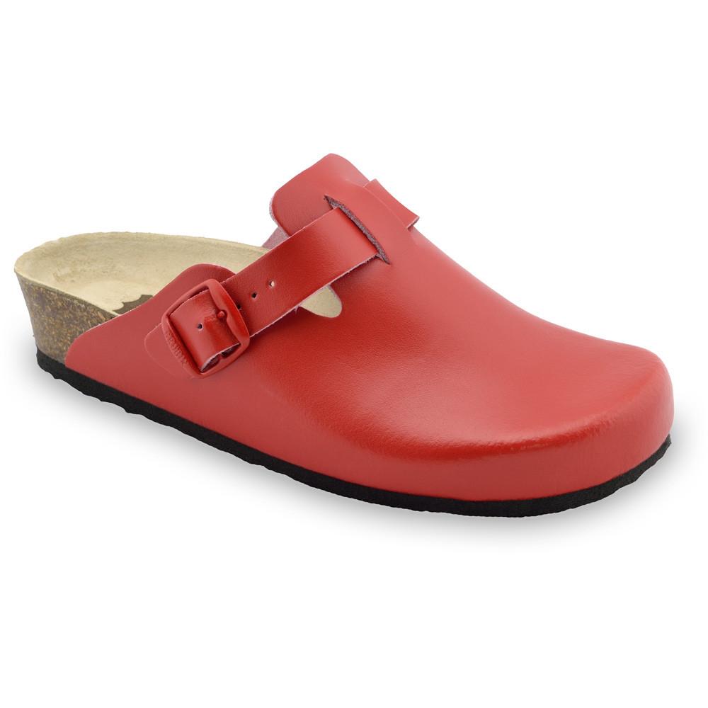 RIM Kožené dámske uzavreté papuče (36-42) - červená, 37