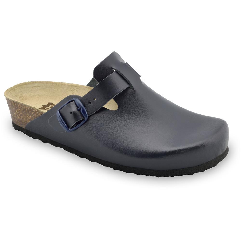 RIM Kožené dámske uzavreté papuče (36-42) - modrá-mat, 40