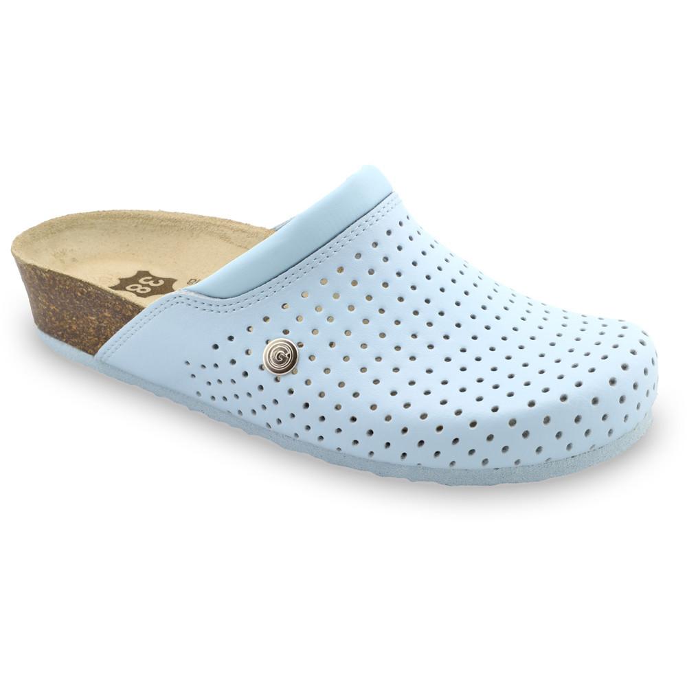 BEOGRAD Kožené dámske uzavreté papuče (36-42) - bledomodrá, 37