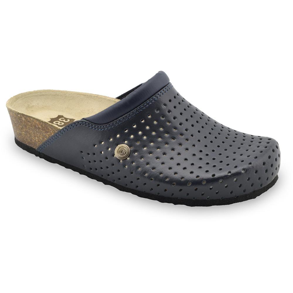 BEOGRAD Kožené dámske uzavreté papuče (36-42) - modrá, 37