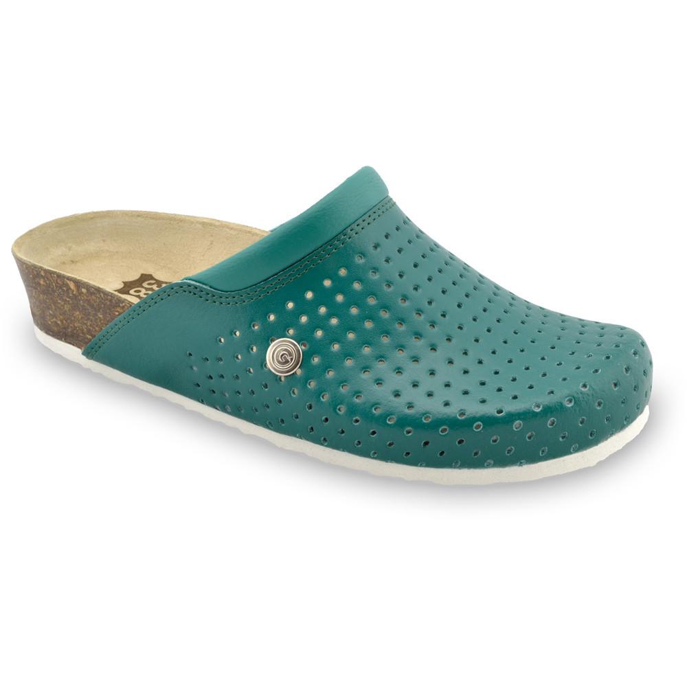 BEOGRAD Kožené dámske uzavreté papuče (36-42) - zelená, 41