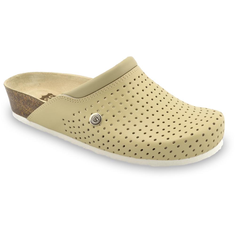 BEOGRAD Kožené dámske uzavreté papuče (36-42) - béžová, 41
