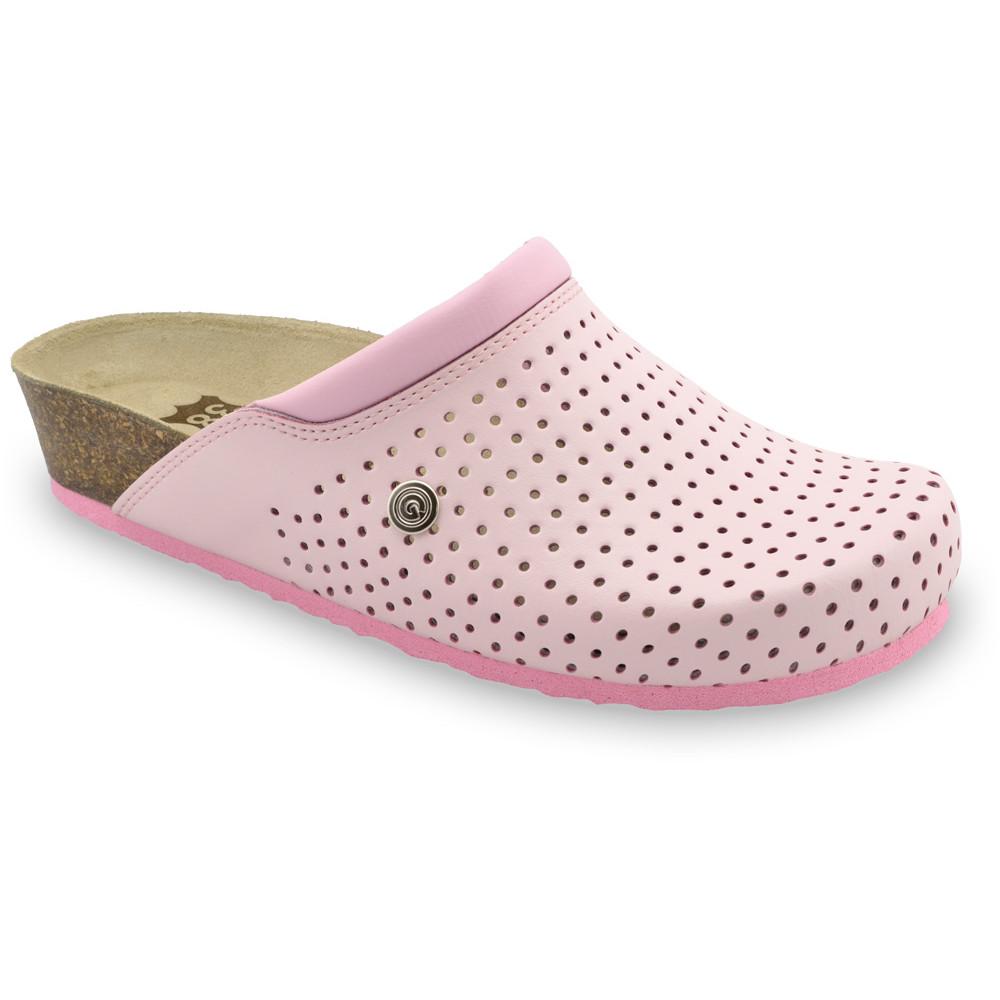 BEOGRAD Kožené dámske uzavreté papuče (36-42) - ružová, 42