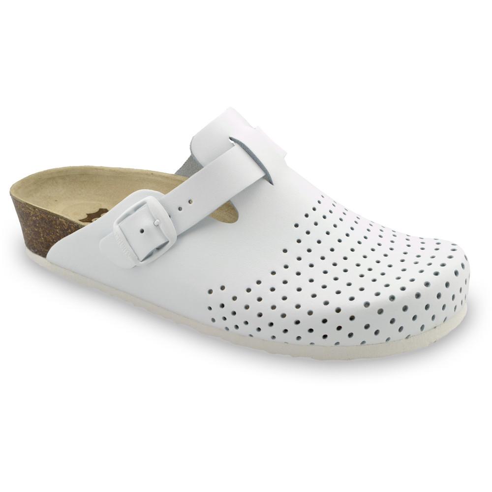 BEOGRAD Kožené dámske uzavreté papuče (36-42) - biela, 37