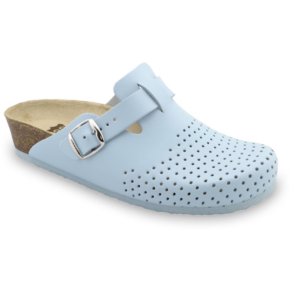 BEOGRAD Kožené dámske uzavreté papuče (36-42) - bledomodrá, 36