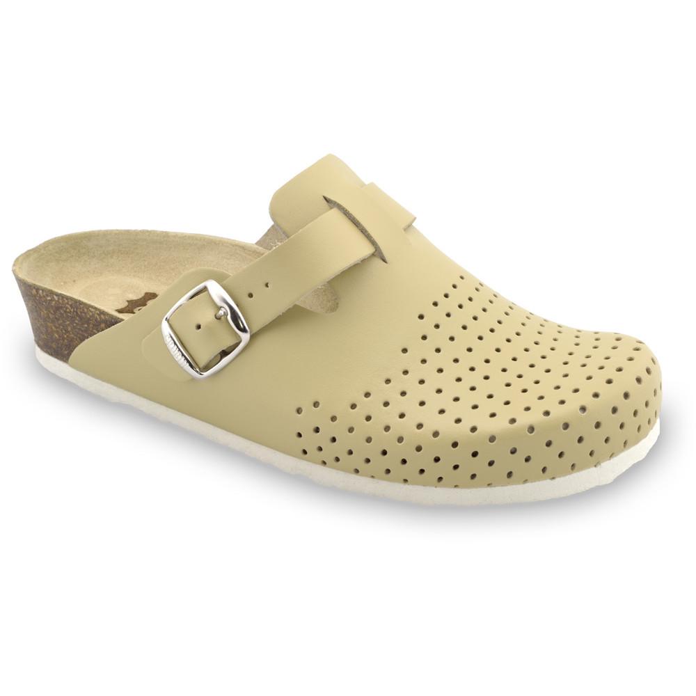 BEOGRAD Kožené dámske uzavreté papuče (36-42) - béžová, 38