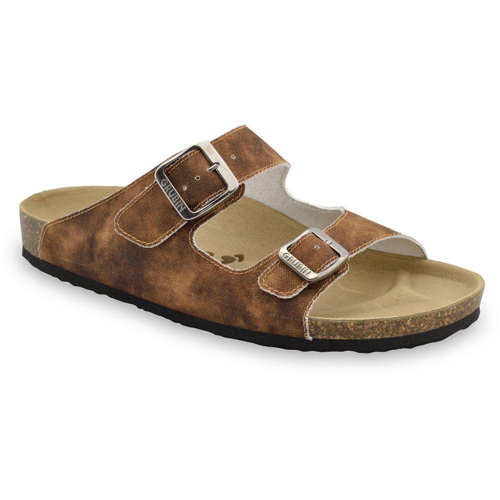 KAIRO papuče pre pánov - tkanina (40-49) - hnedá so vzorom, 43
