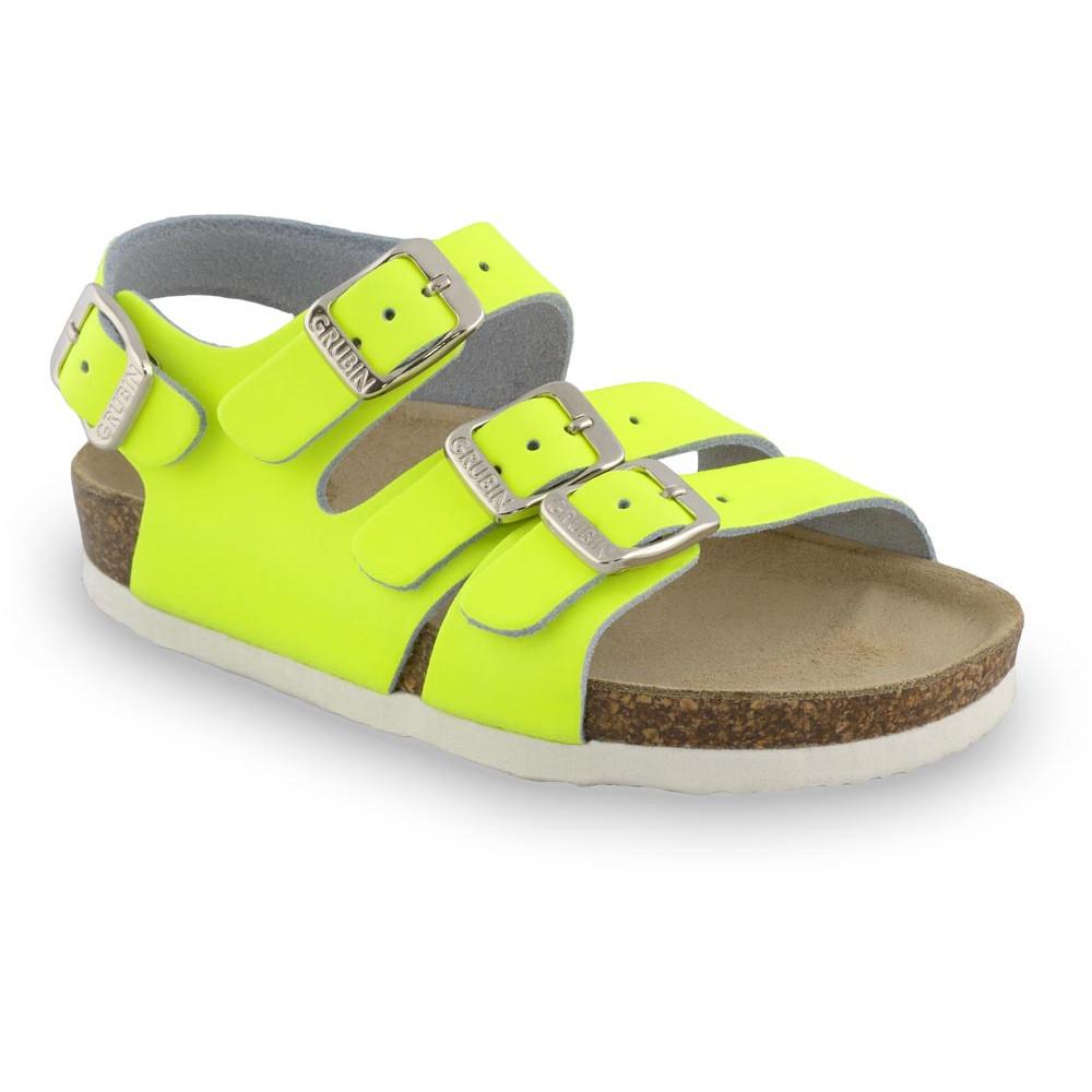 CAMBERA kožené detské sandále (23-29) - žltá-signálna, 26