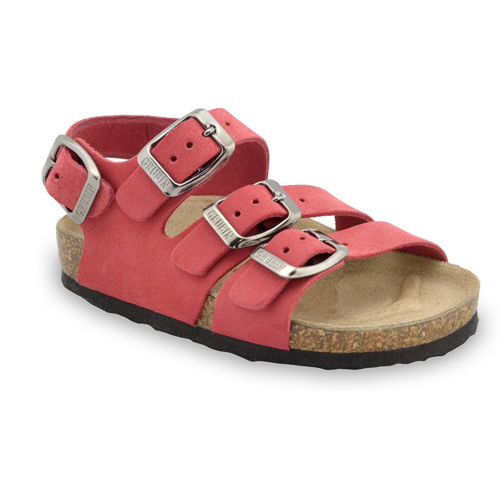 Camber Kožené detské sandále (30-35) - červená, 32