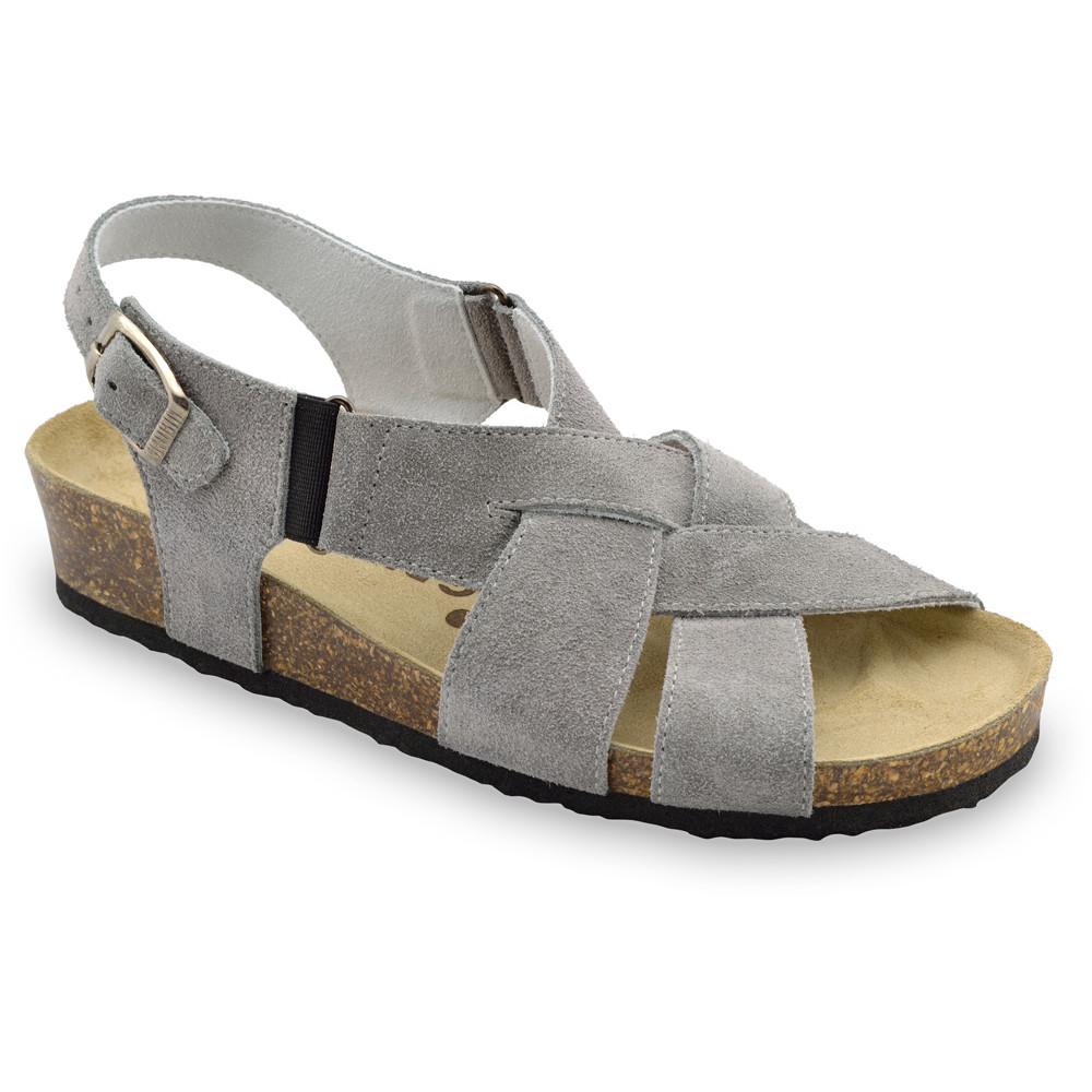 MONA Kožené dámske sandále (36-42) - sivá, 40