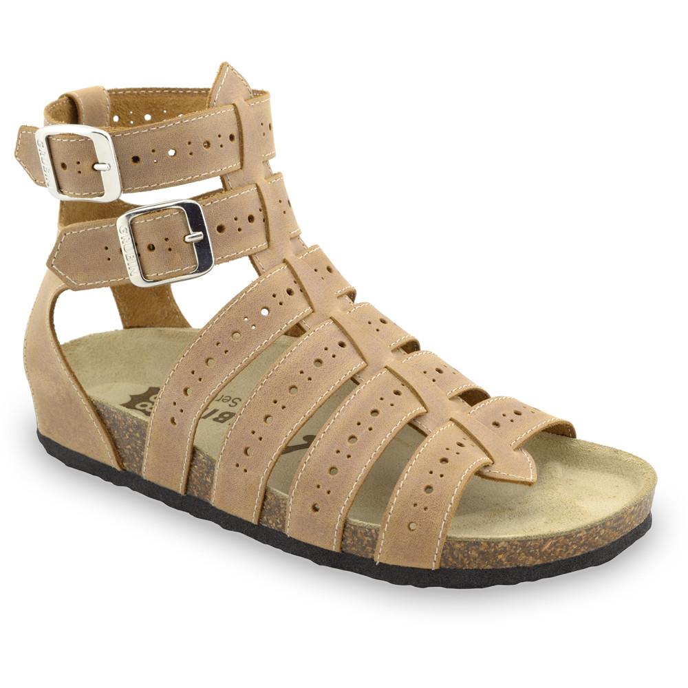 ATINA sandále pre dámy - koža (36-42) - svetlohnedá, 38