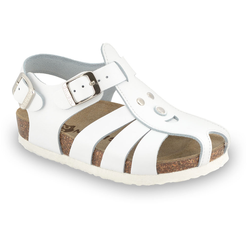 FUNK sandále pre deti - koža (23-30) - biela, 27
