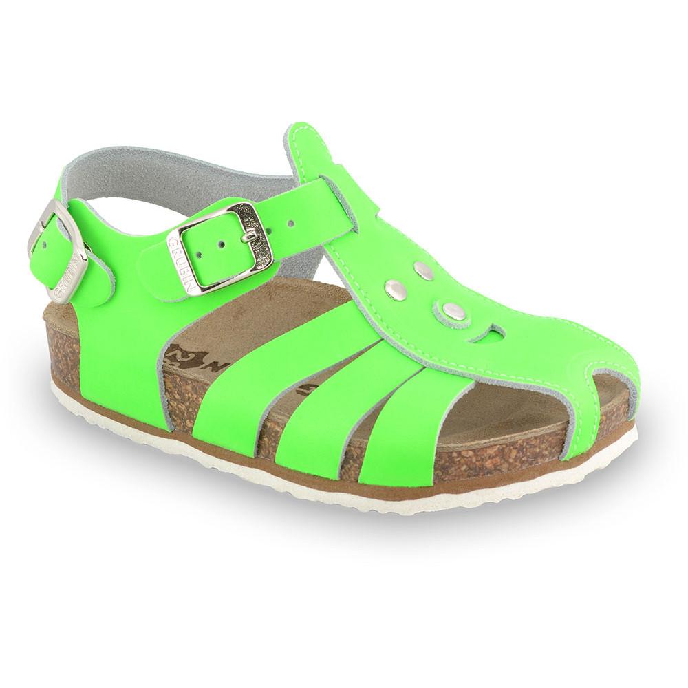 FUNK sandále pre deti - koža (23-30) - zelená-signálna, 24