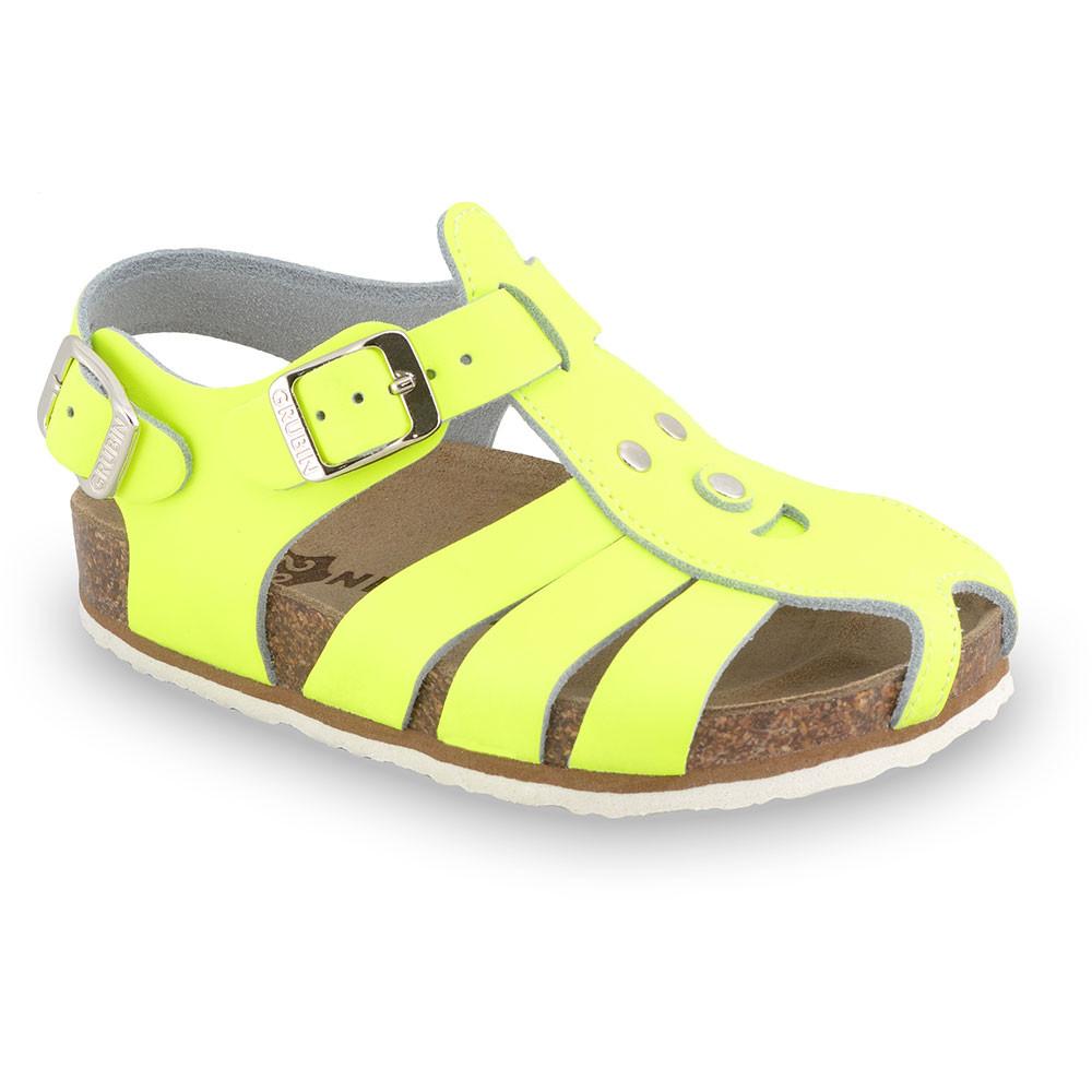 FUNK sandále pre deti - koža (23-30) - žltá-signálna, 23