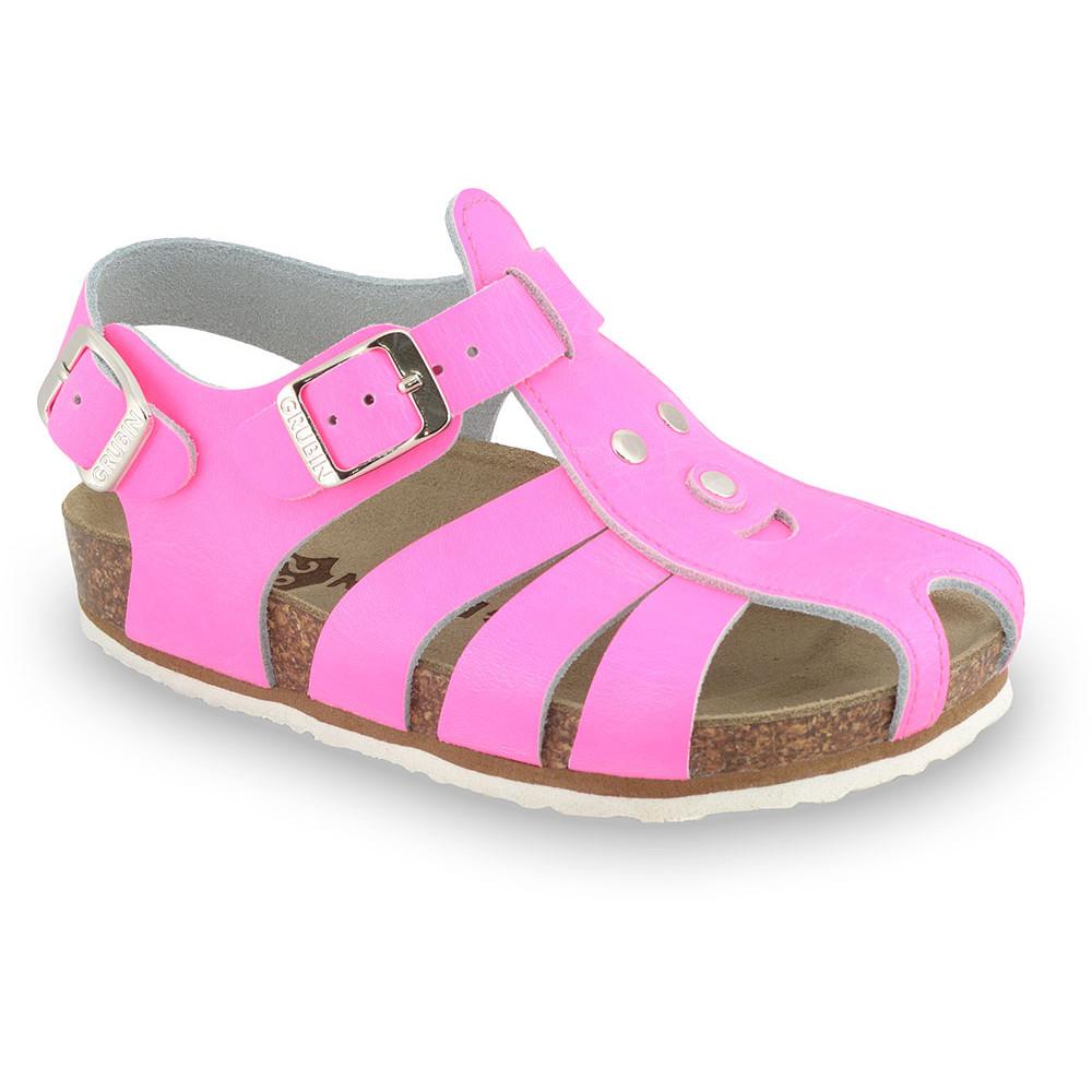 FUNK sandále pre deti - koža (23-30) - ružová-signálna, 30