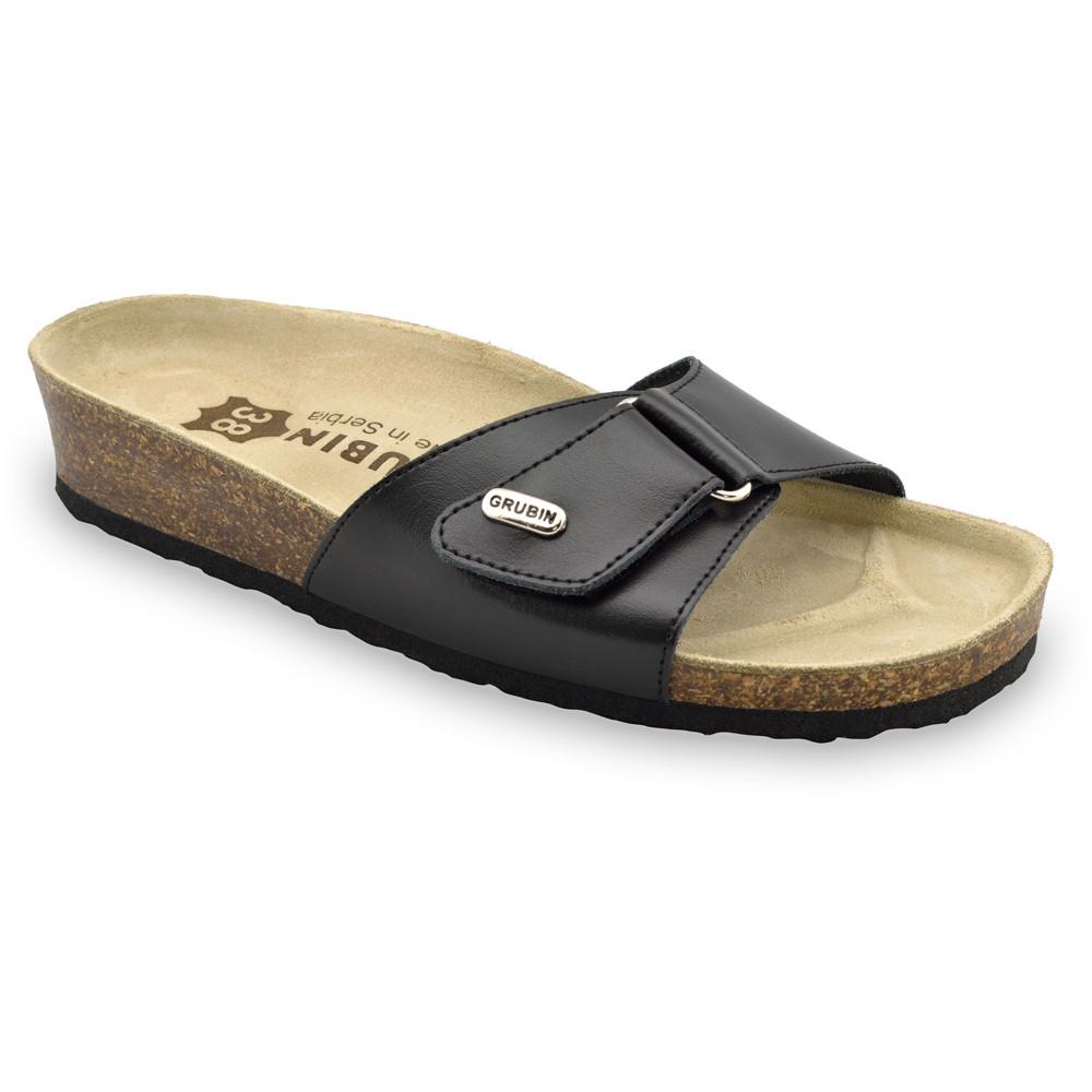 BRIGITTE Kožené dámske papuče (36-42) - čierna, 42