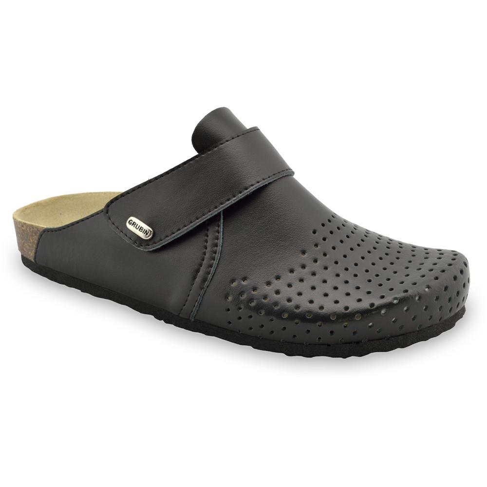OREGON papuče uzavreté pre pánov - koža (40-49) - čierna, 40