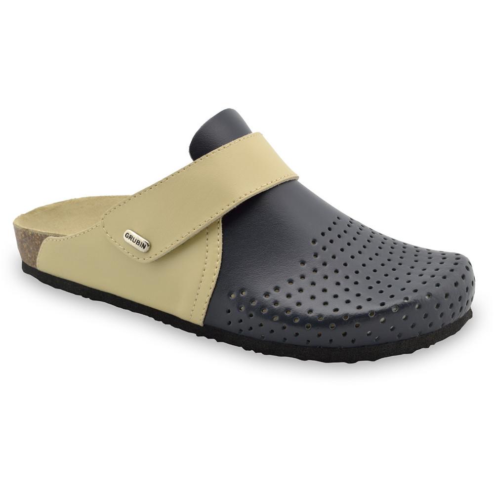 OREGON papuče uzavreté pre pánov - koža (40-49) - čierna so vzorom, 41