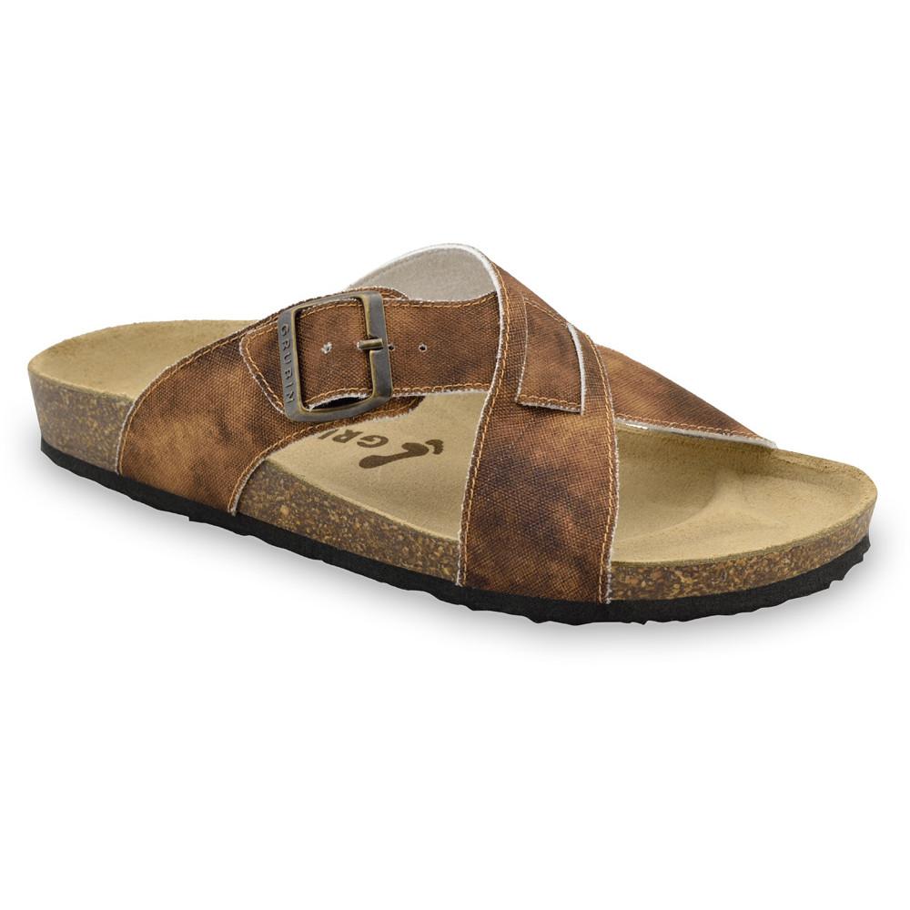 BORSALLINO papuče pre pánov - tkanina (40-49) - hnedá so vzorom, 48