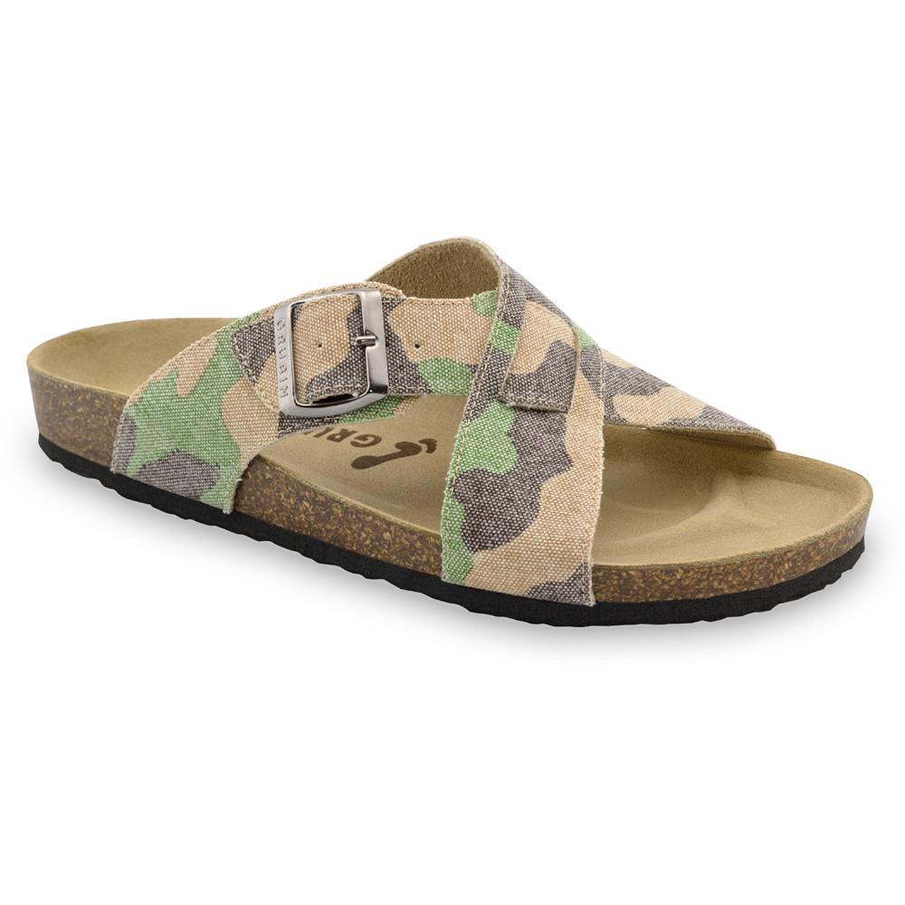 BORSALLINO papuče pre pánov - tkanina (40-49) - vojenská, 41