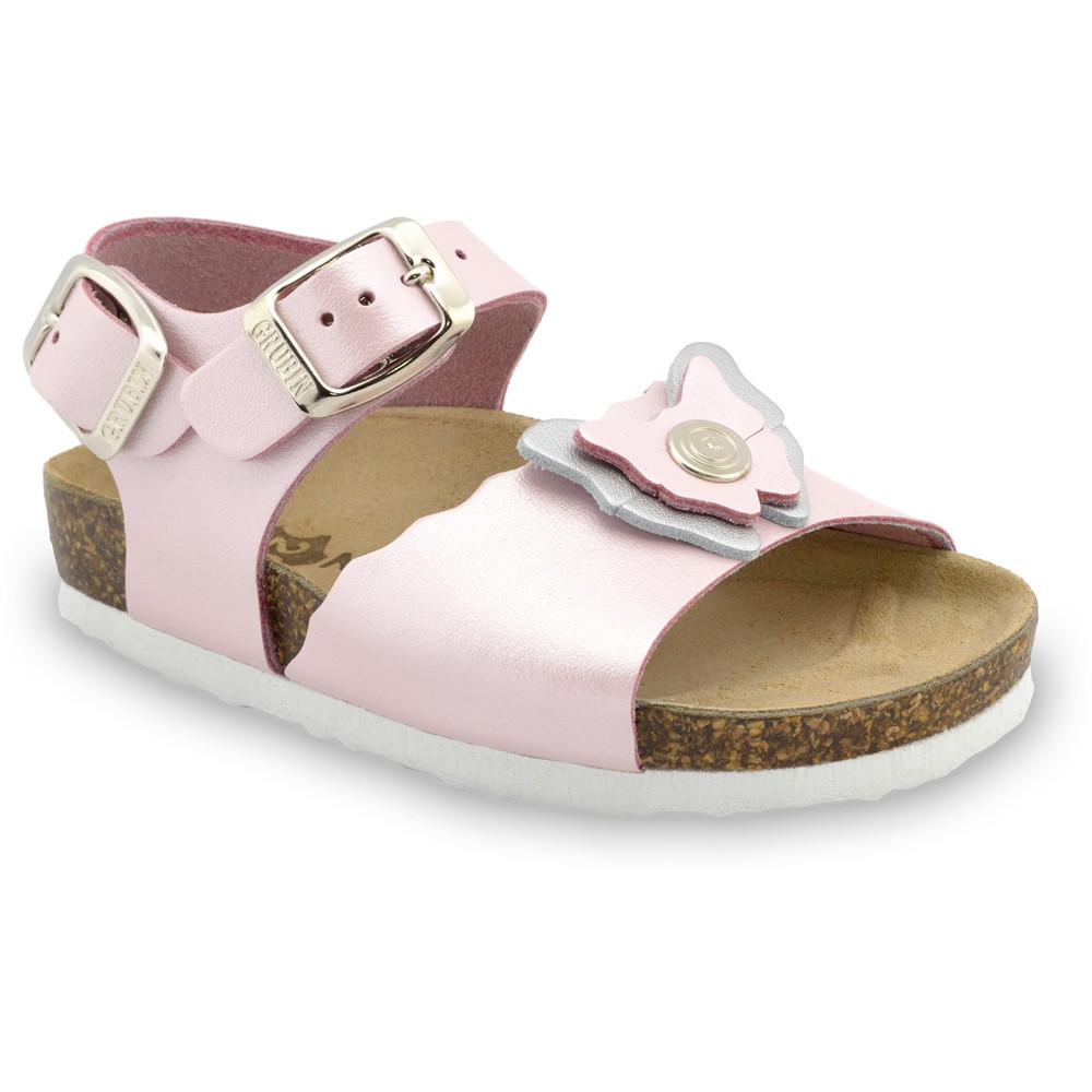 BUTTERFLY sandále pre deti - koža (23-29) - svetloružová, 29