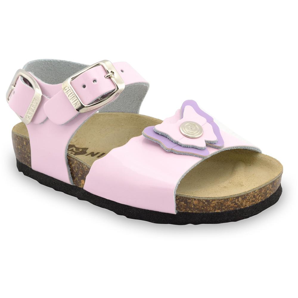 BUTTERFLY sandále pre deti - koža (23-29) - svetloružová, 28
