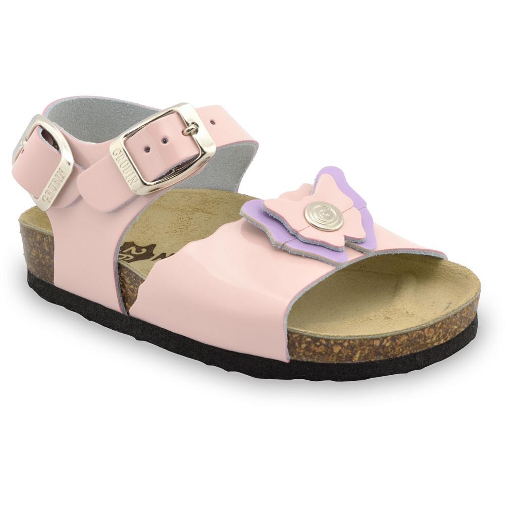 BUTTERFLY sandále pre deti - koža (23-29) - krémová, 26