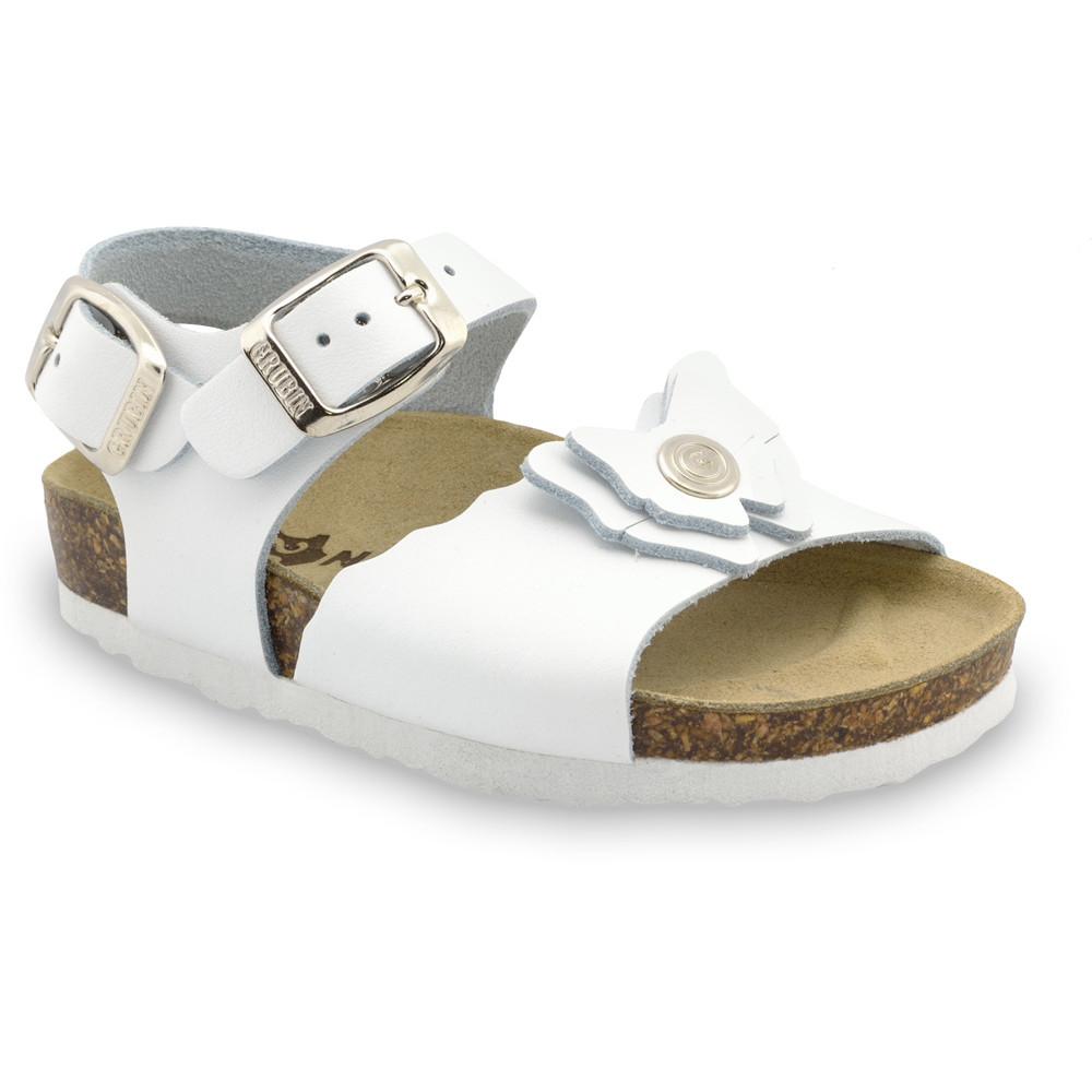 BUTTERFLY sandále pre deti - koža (30-35) - biela, 34