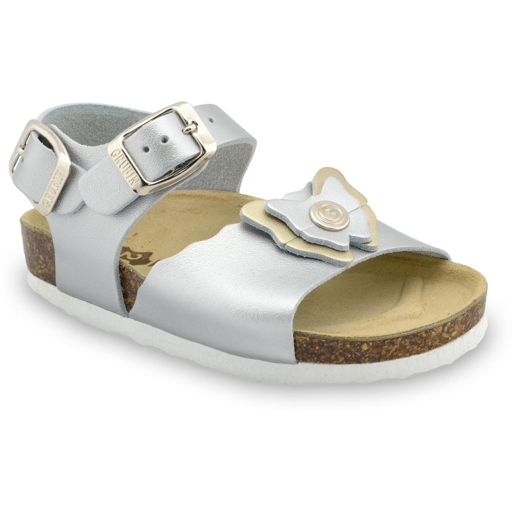 BUTTERFLY sandále pre deti - koža (30-35) - strieborná, 30