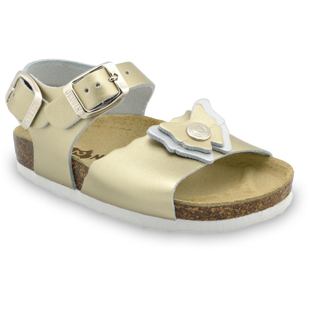 BUTTERFLY sandále pre deti - koža (30-35) - zlatá, 34