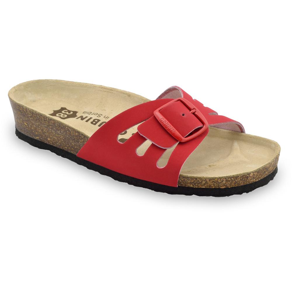 LOLITA Kožené dámske papuče (36-42) - červená, 42