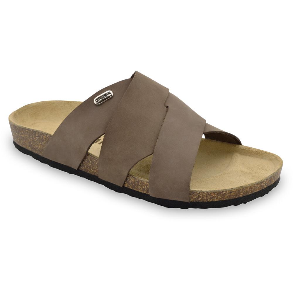 MORANDI papuče pre pánov - koža nubuk (40-49) - hnedá, 40