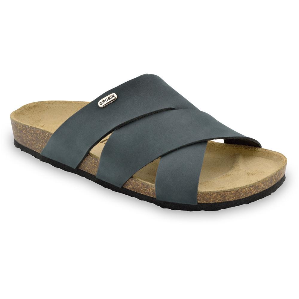 MORANDI papuče pre pánov - koža nubuk (40-49) - tmavosivá, 43