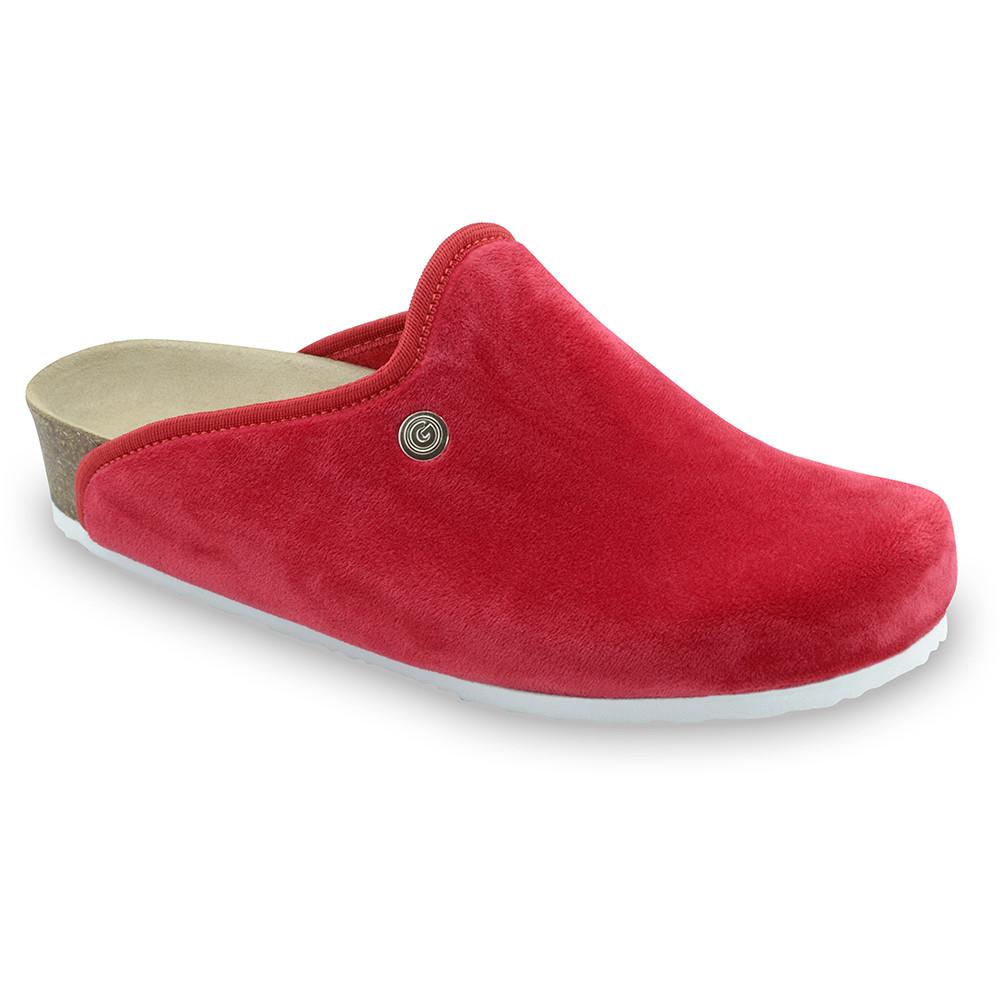 CAKI domáca zimná obuv pre dámy - pliš (36-42) - červená, 40