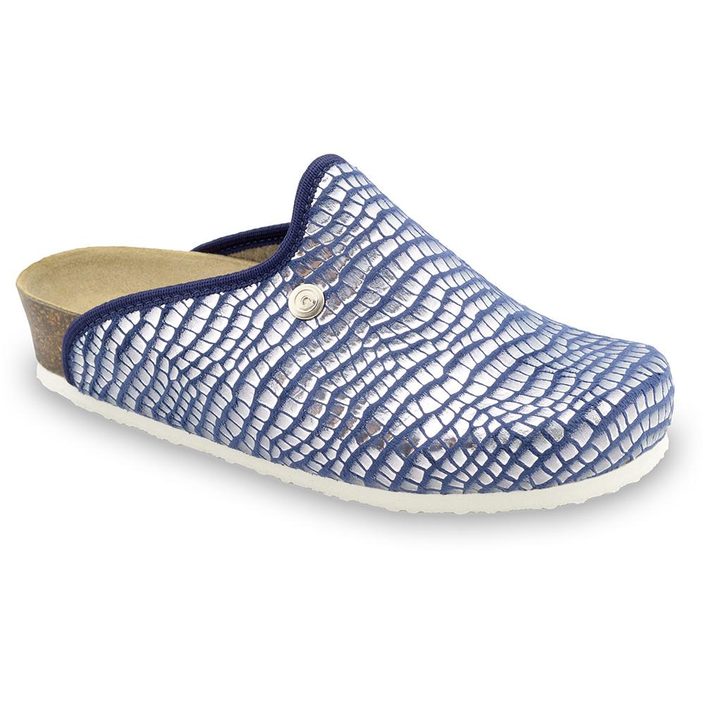 CAKI domáca zimná obuv pre dámy - pliš (36-42) - modrá zmija, 40