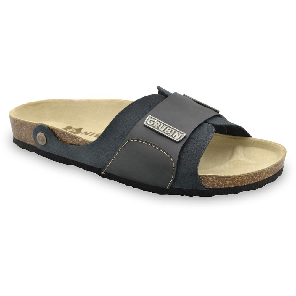 DARKO papuče pre pánov - koža (40-49) - tmavosivá, 48