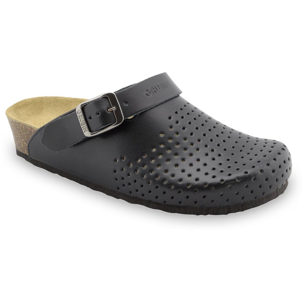 STOCKHOLM Kožené dámske uzavreté papuče (36-42) - čierna, 36