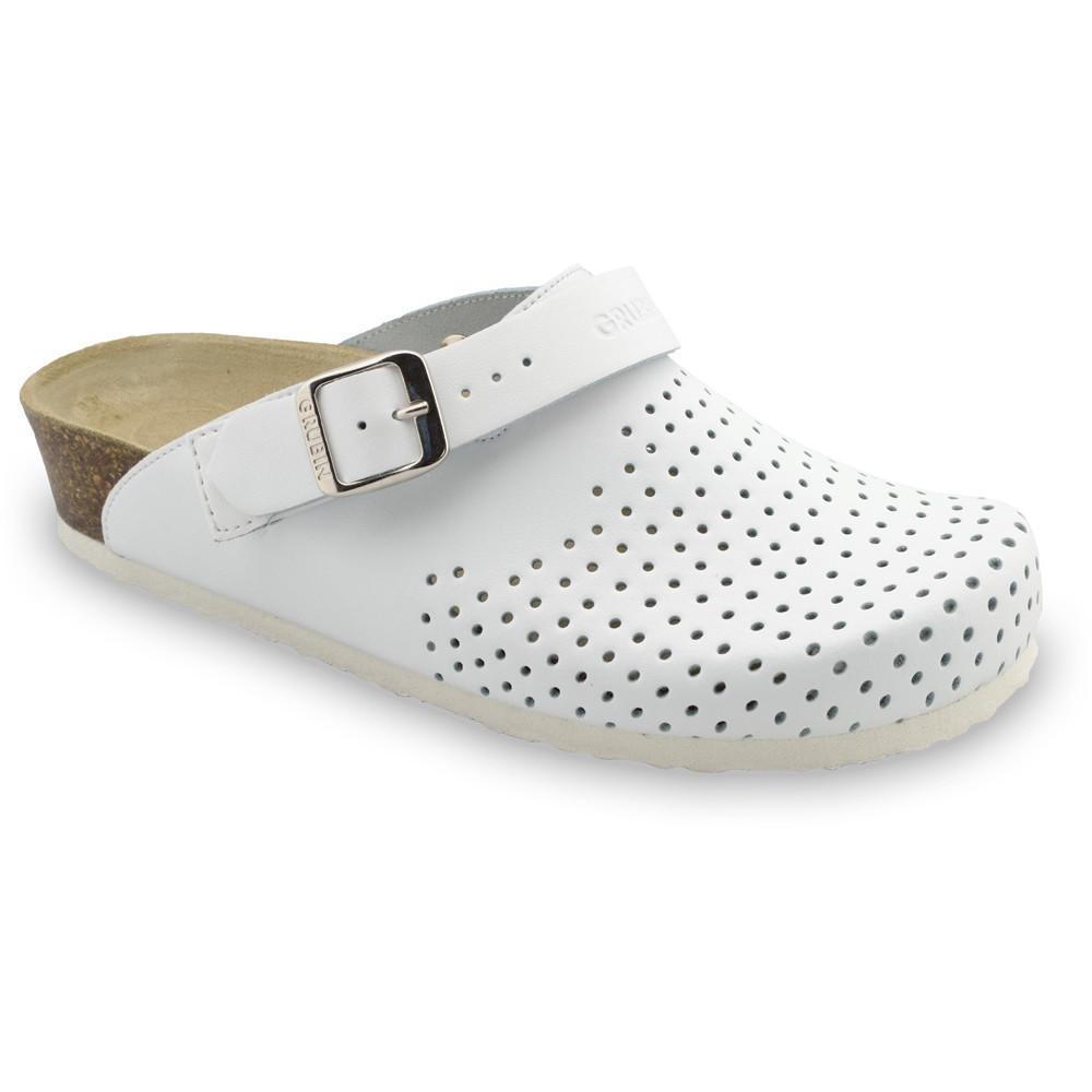STOCKHOLM Kožené dámske uzavreté papuče (36-42) - biela, 42