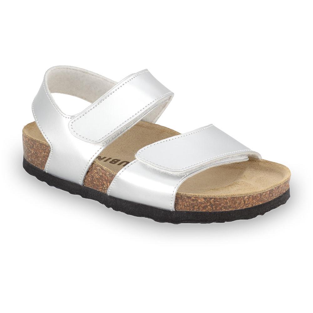 DIONIS sandále pre deti - koženka (23-29) - strieborná, 24