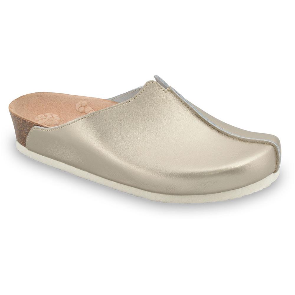 TRISTAN Kožené dámske uzavreté papuče (37-41) - zlatá, 38