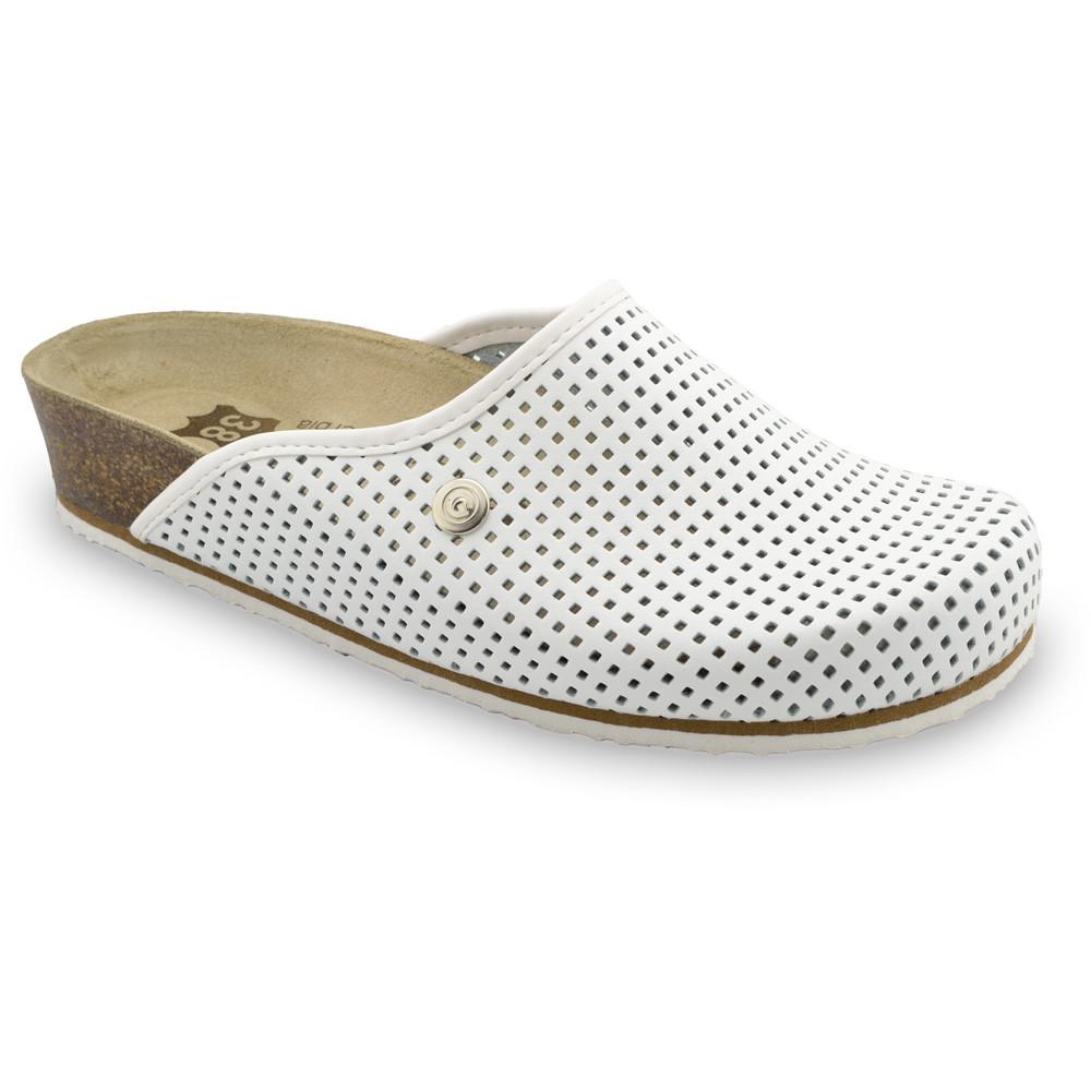 TERRA Kožené dámske uzavreté papuče (36-42) - biela, 40
