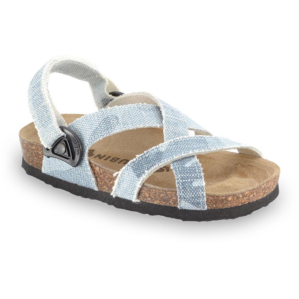 PITAGORA sandále pre deti - tkanina (23-29) - modrosivá, 24