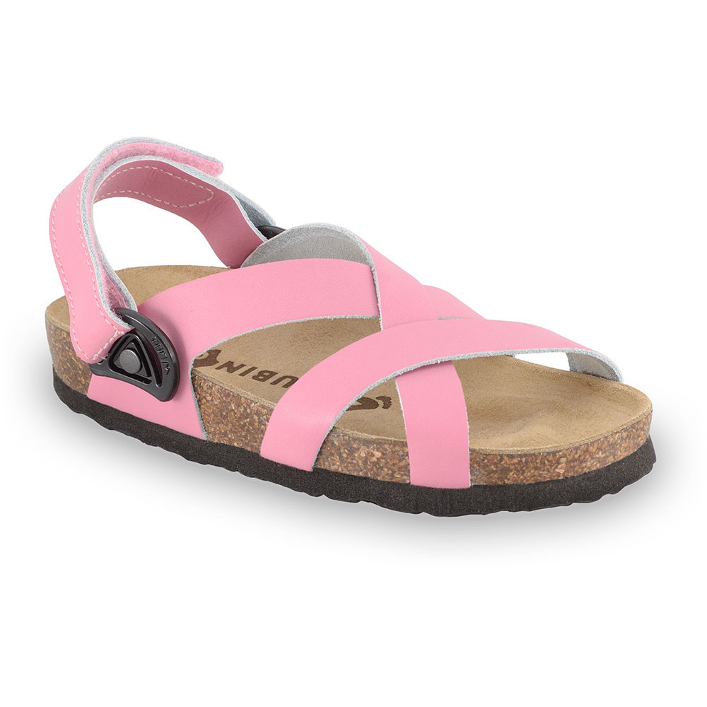 PITAGORA sandále pre deti - koža nubuk-kast (23-29) - ružová, 27