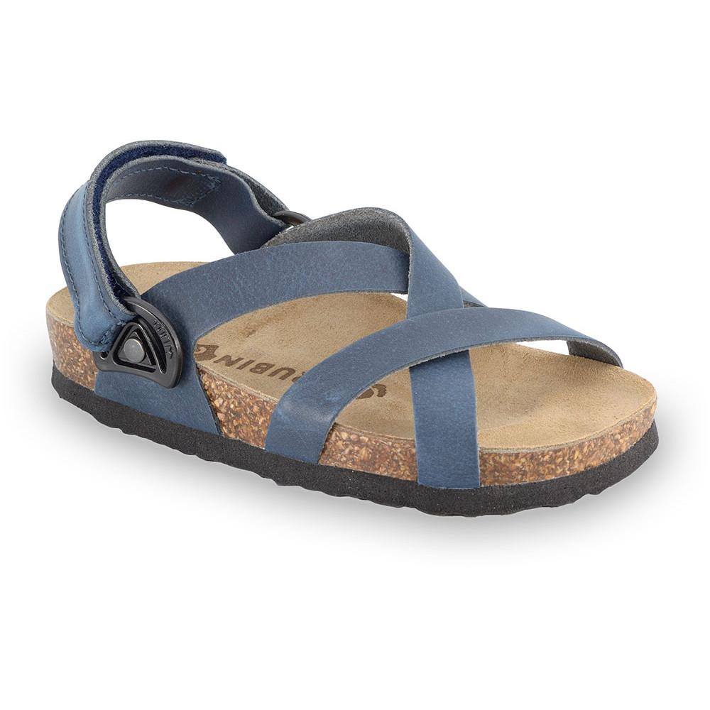 PITAGORA sandále pre deti - koža nubuk-kast (23-29) - modrá, 25